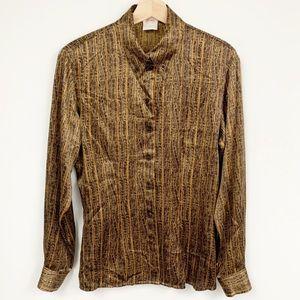Vintage Escada Silk Button down shirt Blouse Sz 36